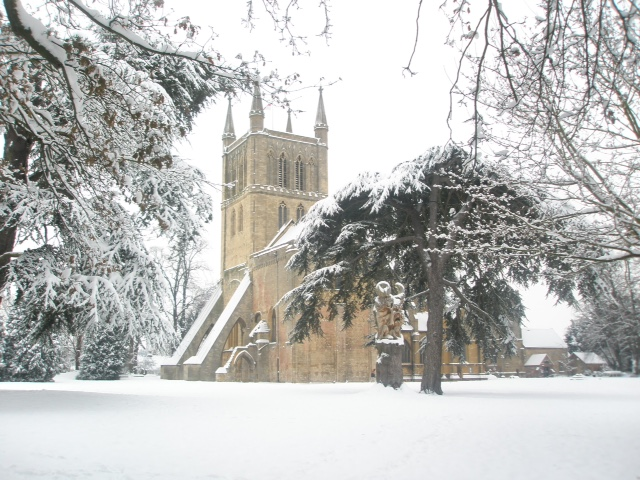 Abbey in the snow