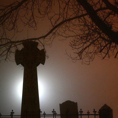 Graves in fog