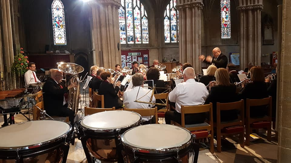Pershore Brass Band in the ABBEY