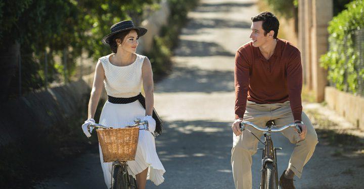 Felicity Jones And Nabhann Rizwan Both On Bicycles.
