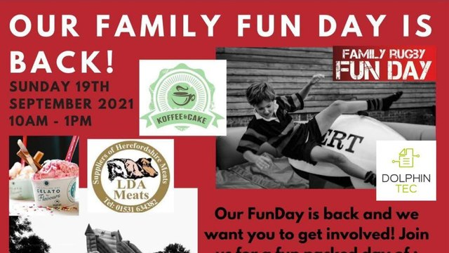 Pershore Rugby Club Family Fun Day Poster.
